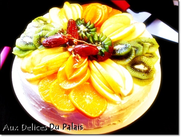 decoration gateau avec fruits