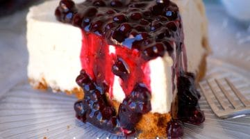 Cheese cake au coulis de myrtilles